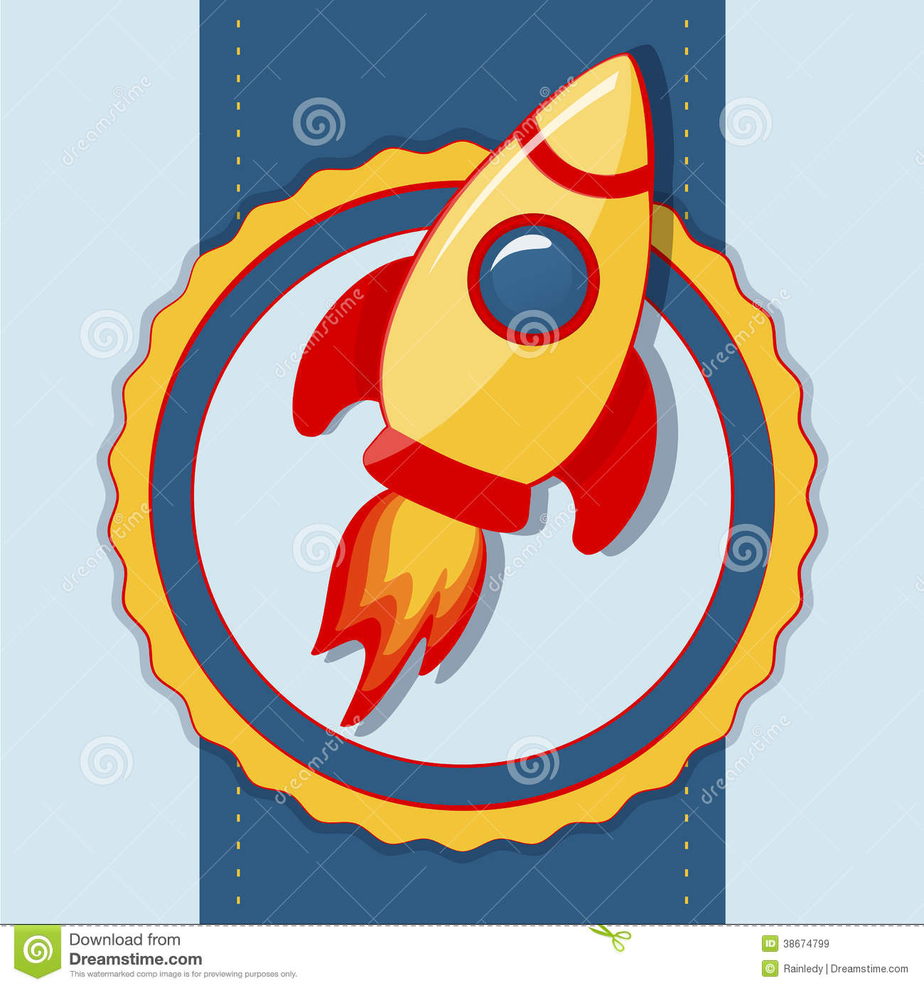 Vector card with space rocket.