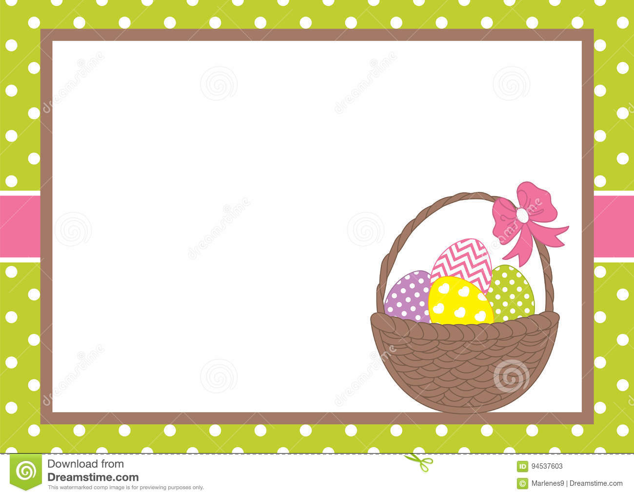 vector card template with a basket and easter eggs on polka dot