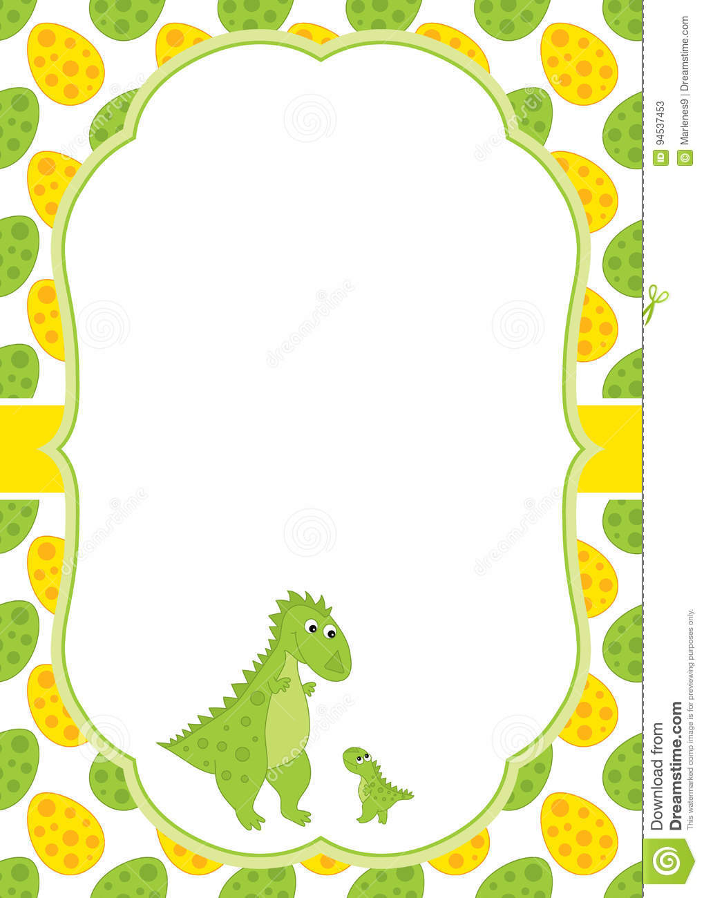 vector card template with a cute cartoon dinosaurs stock vector
