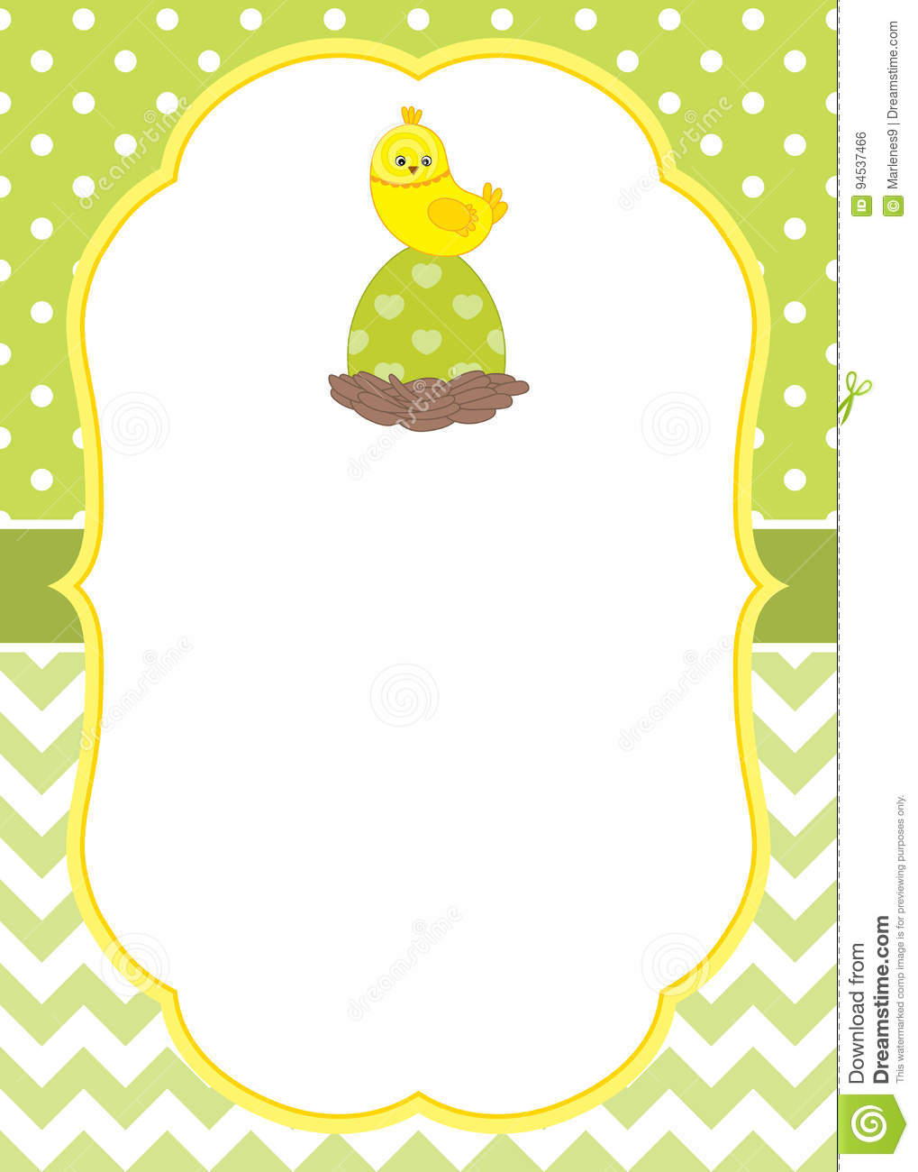 Vector Card Template With A Cute Chick On Polka Dot And Chevron
