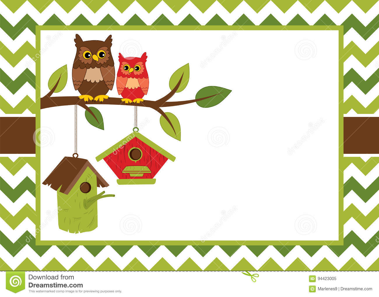 vector card template with cute owls on the branch birdhouses on