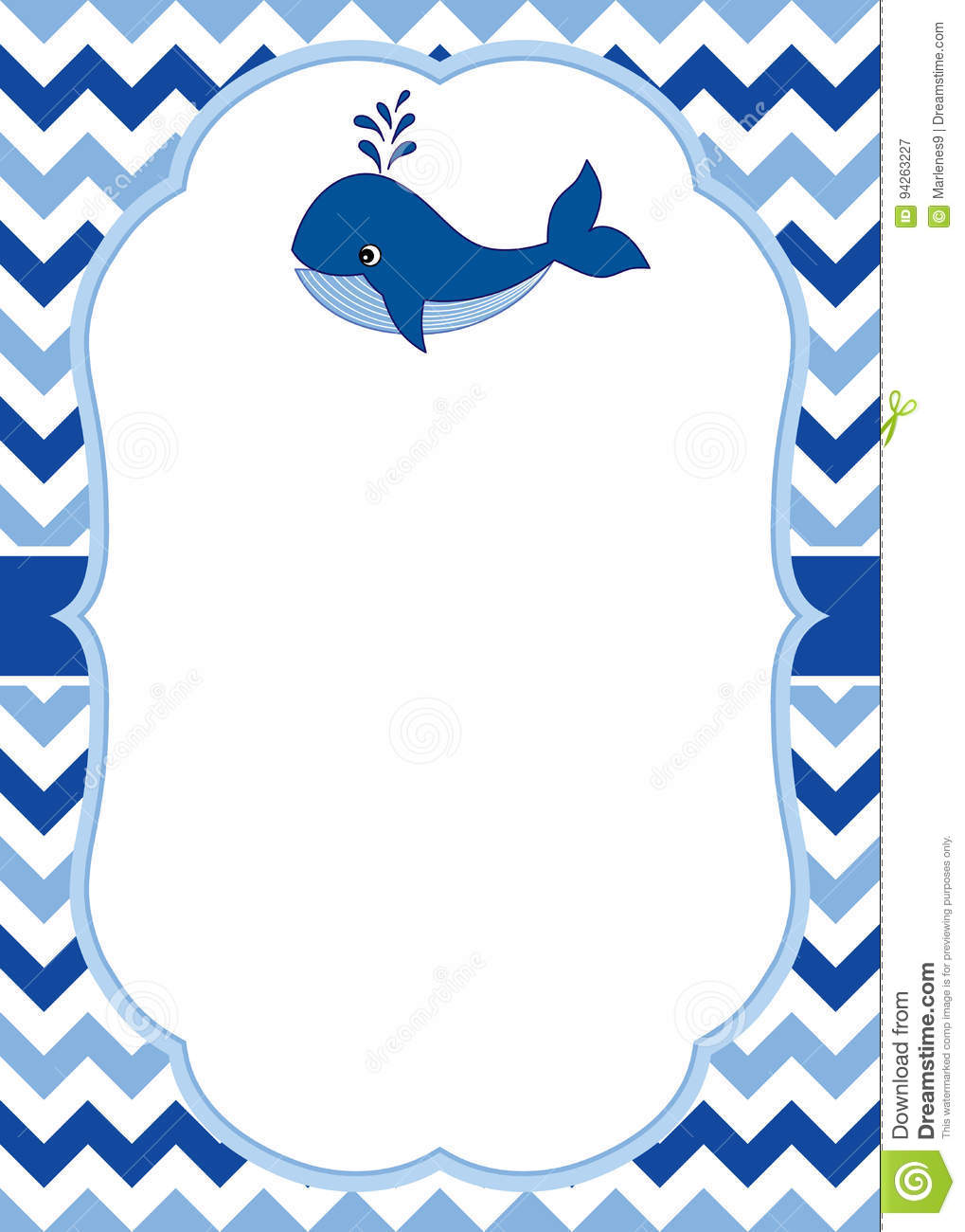 vector card template with a cute whale on chevron