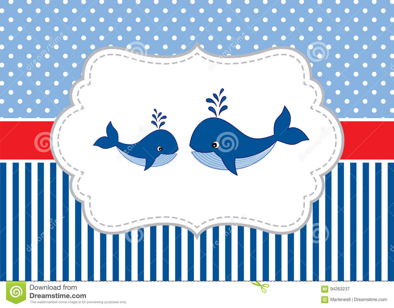vector card template with cute whales on polka dot and stripes