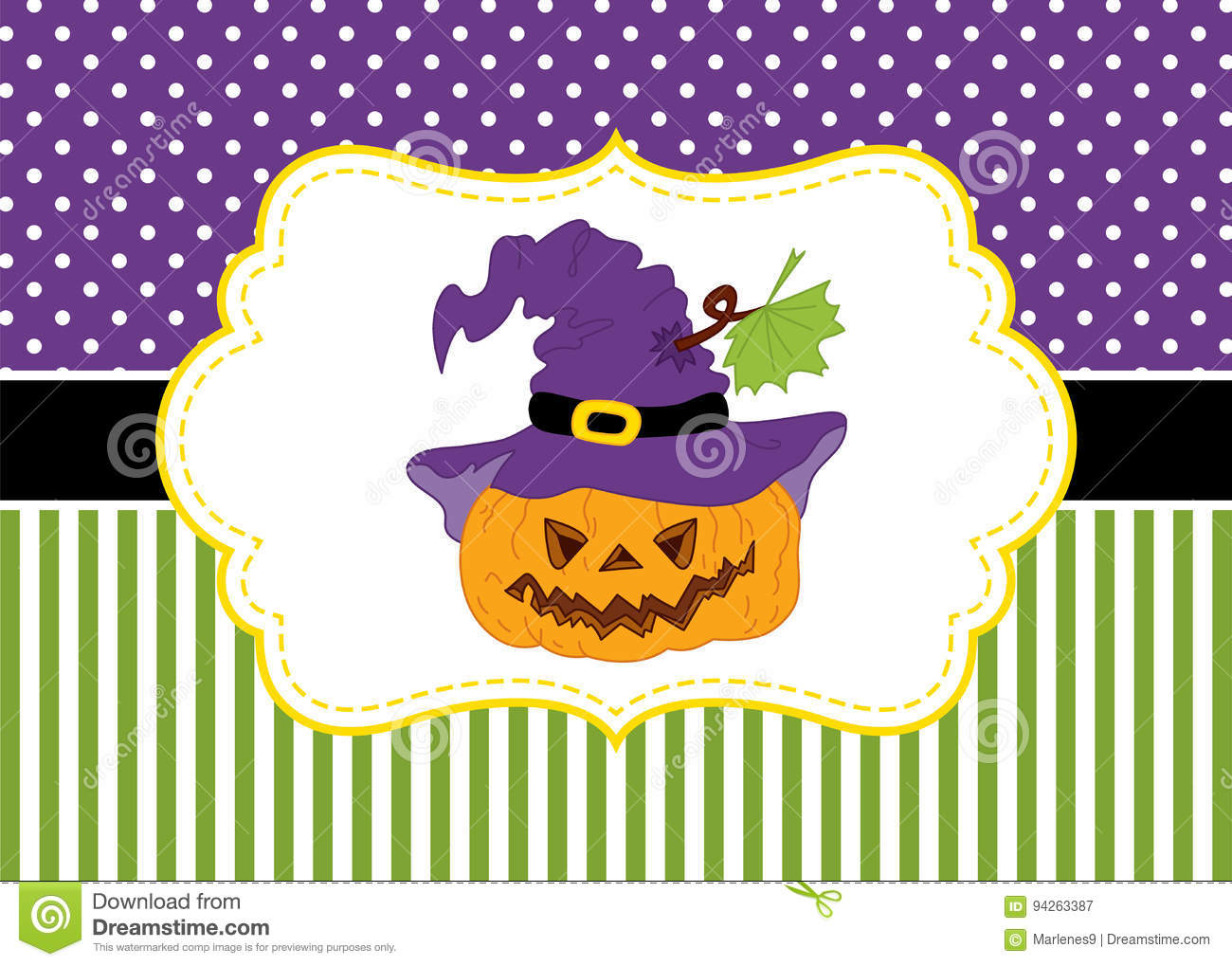 vector card template with a pumpkin on polka dot and stripes