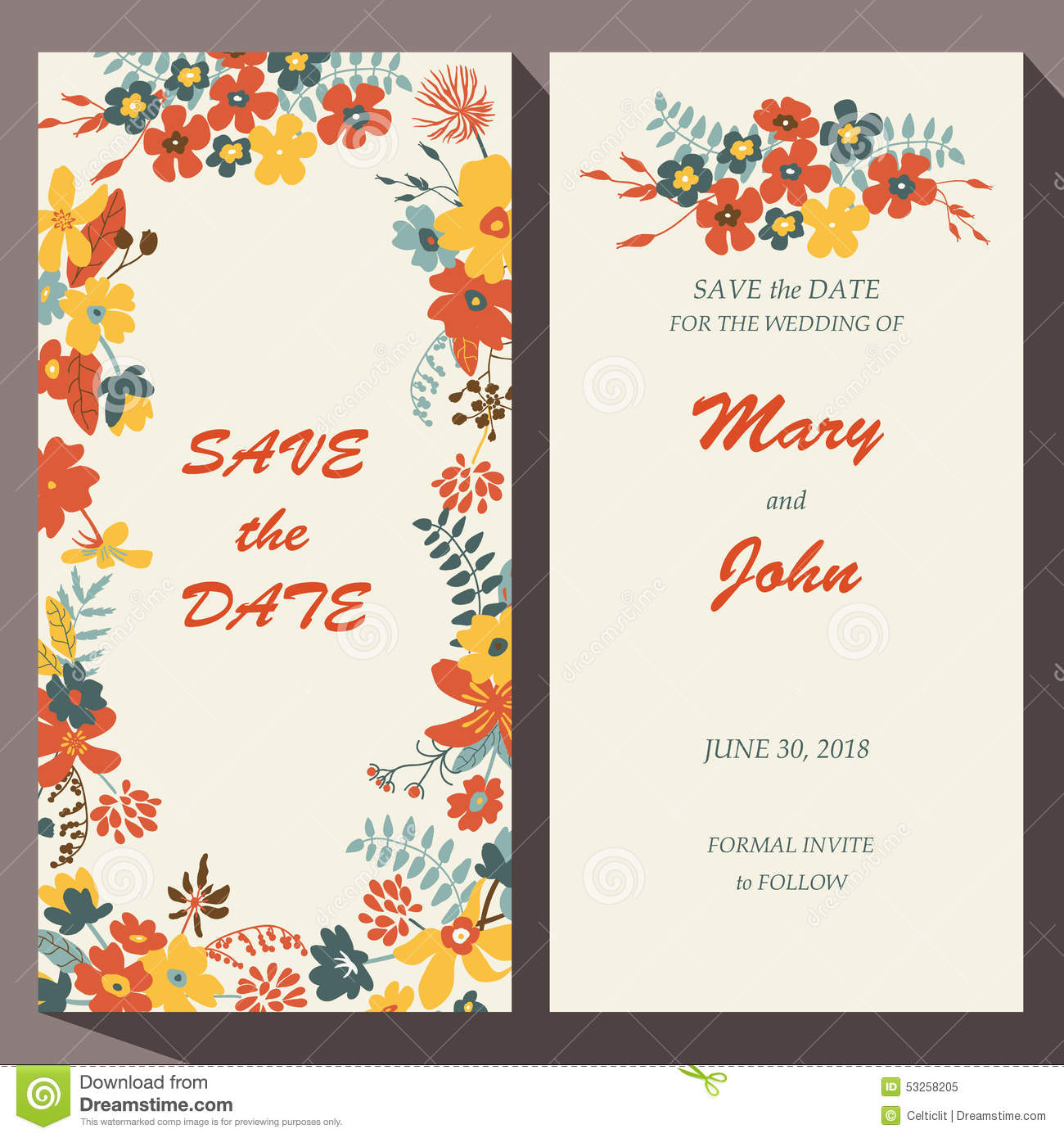 vector card template for save the date baby stock vector