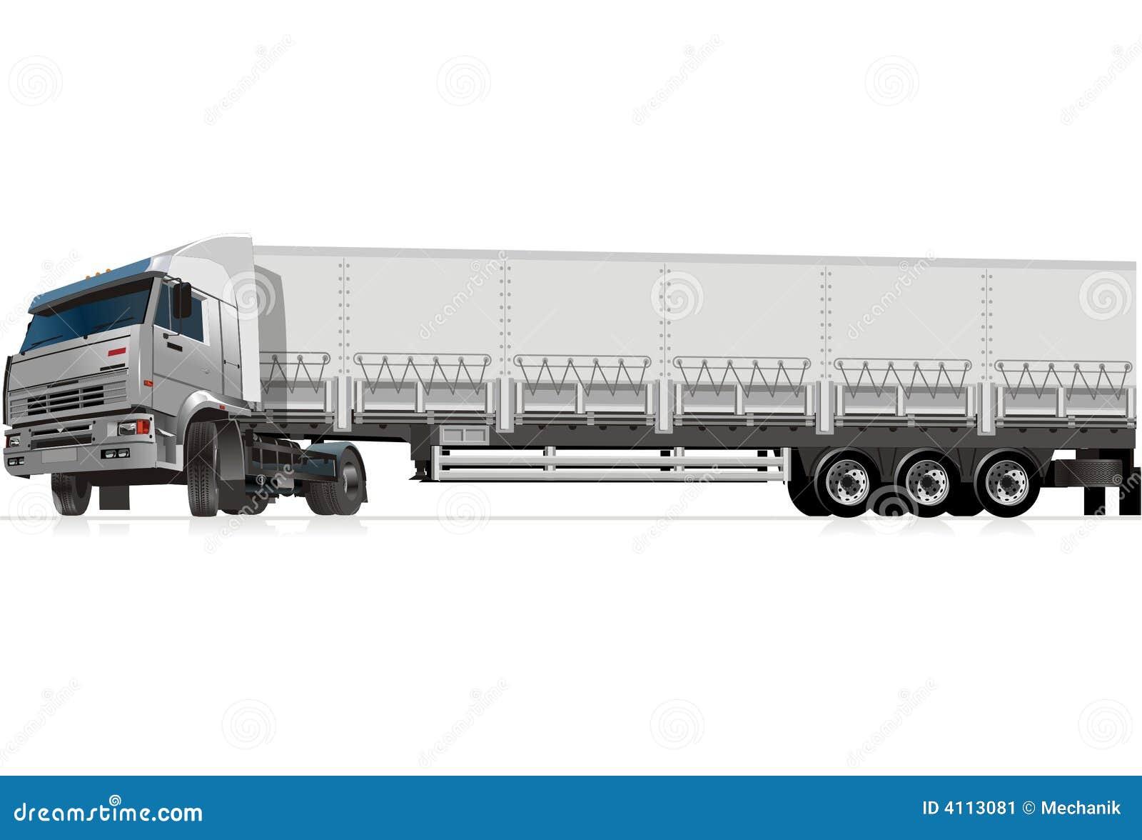 Semi Truck Side View Vector Semi Truck Vector Side View