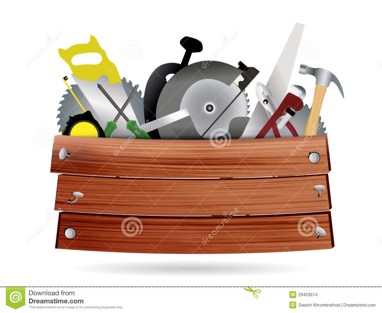 Carpentry, construction hardware tools collage with wood plank texture ...