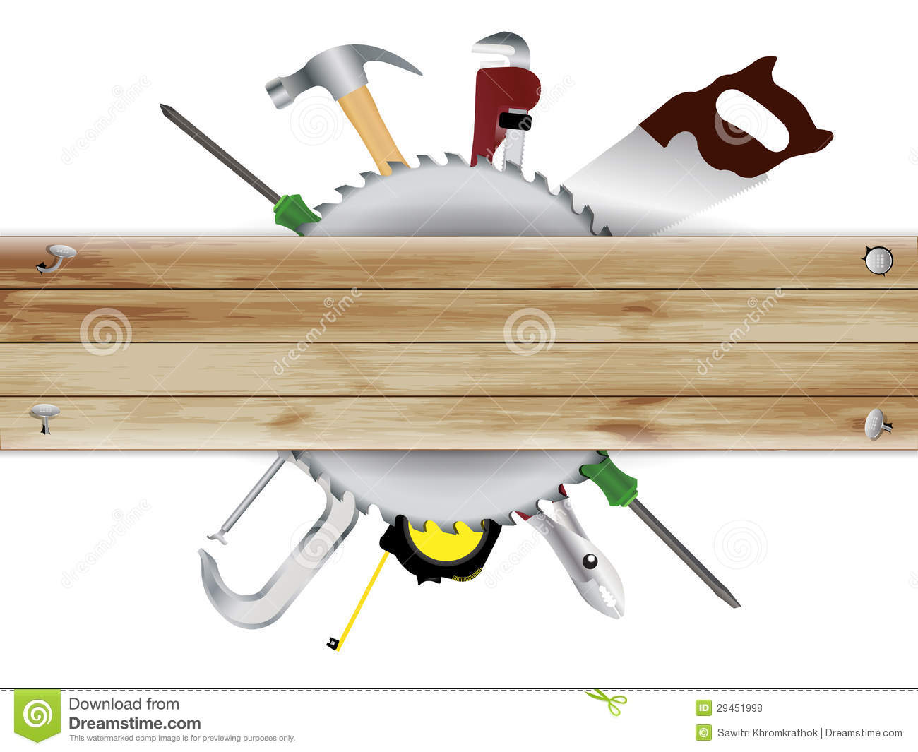 Vector Carpentry Tools Collage With Wood Plank Te Stock Vector