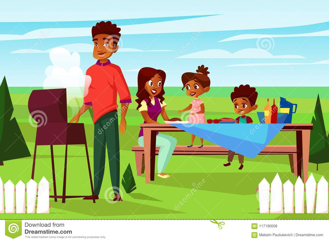 Vector cartoon african family at picnic bbq party