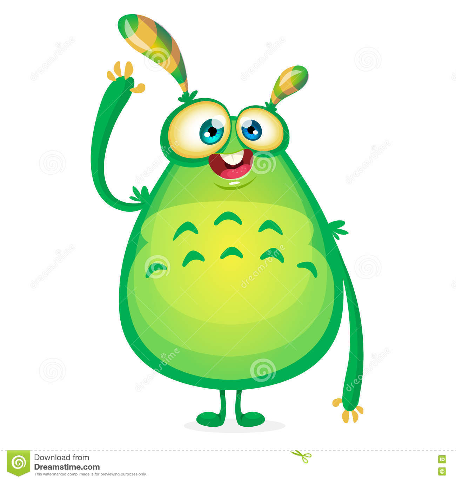 cute cartoon monster vector halloween bigfoot character waving