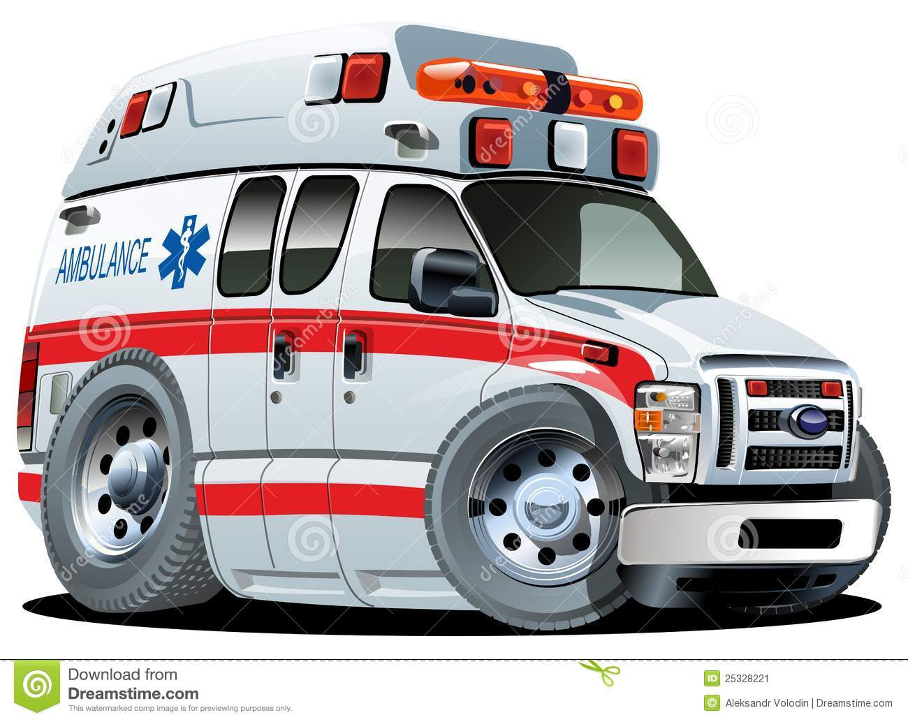 Vector Cartoon ambulance van isolated on white background. Available ...