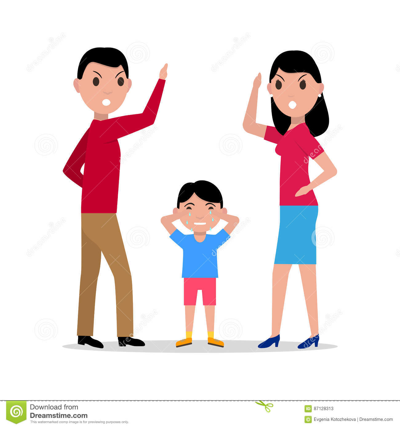 vector cartoon angry parents swearing child stock vector arguing clipart black and white couple arguing clipart