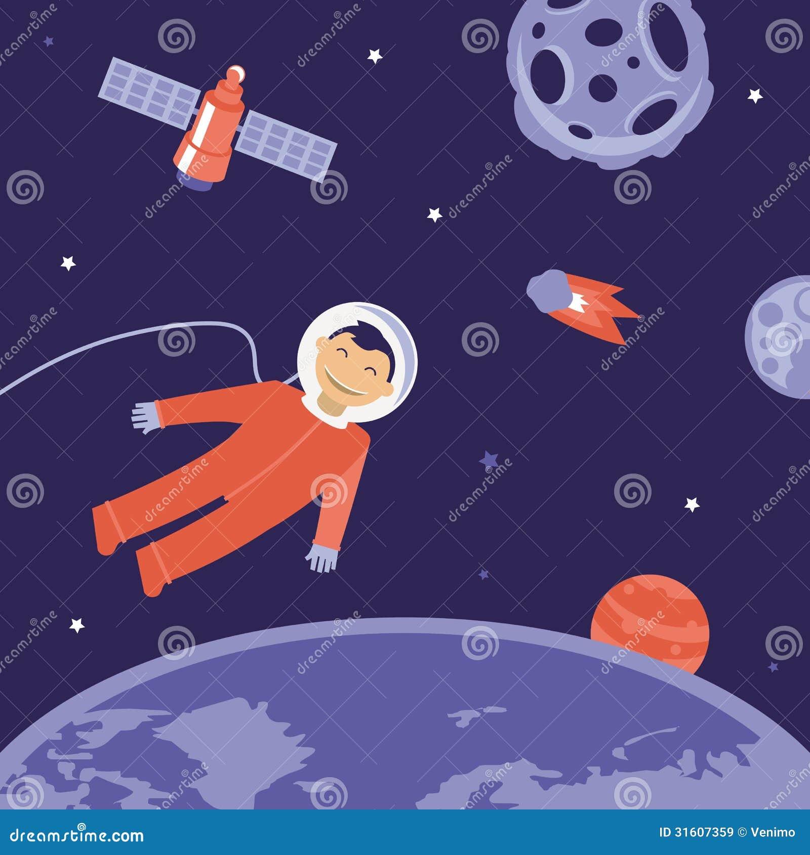 Vector Cartoon Astronaut In Space Stock Vector Image