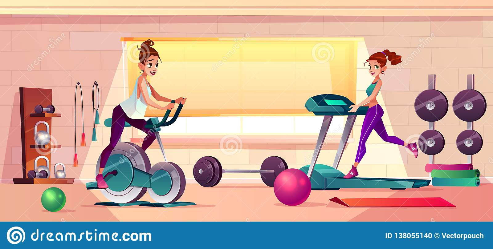 Vector gym background with treadmill, bike training