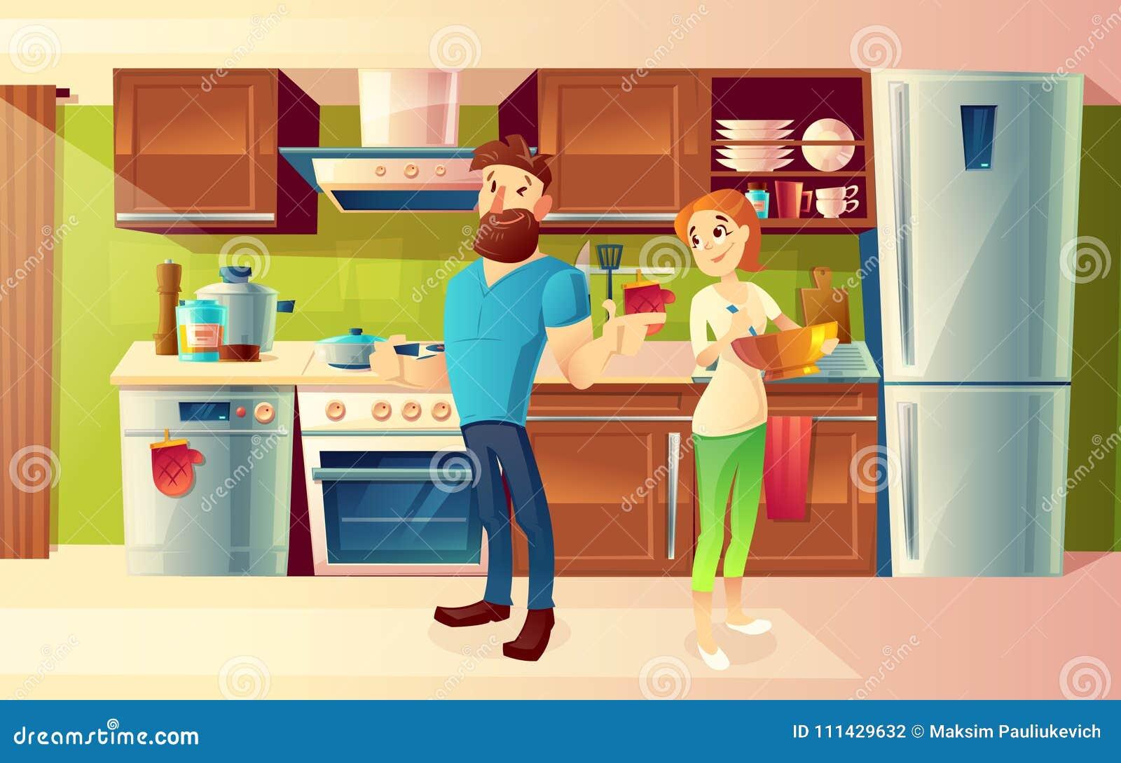 Vector Cartoon Happy Couple In A Modern Kitchen Stock Vector