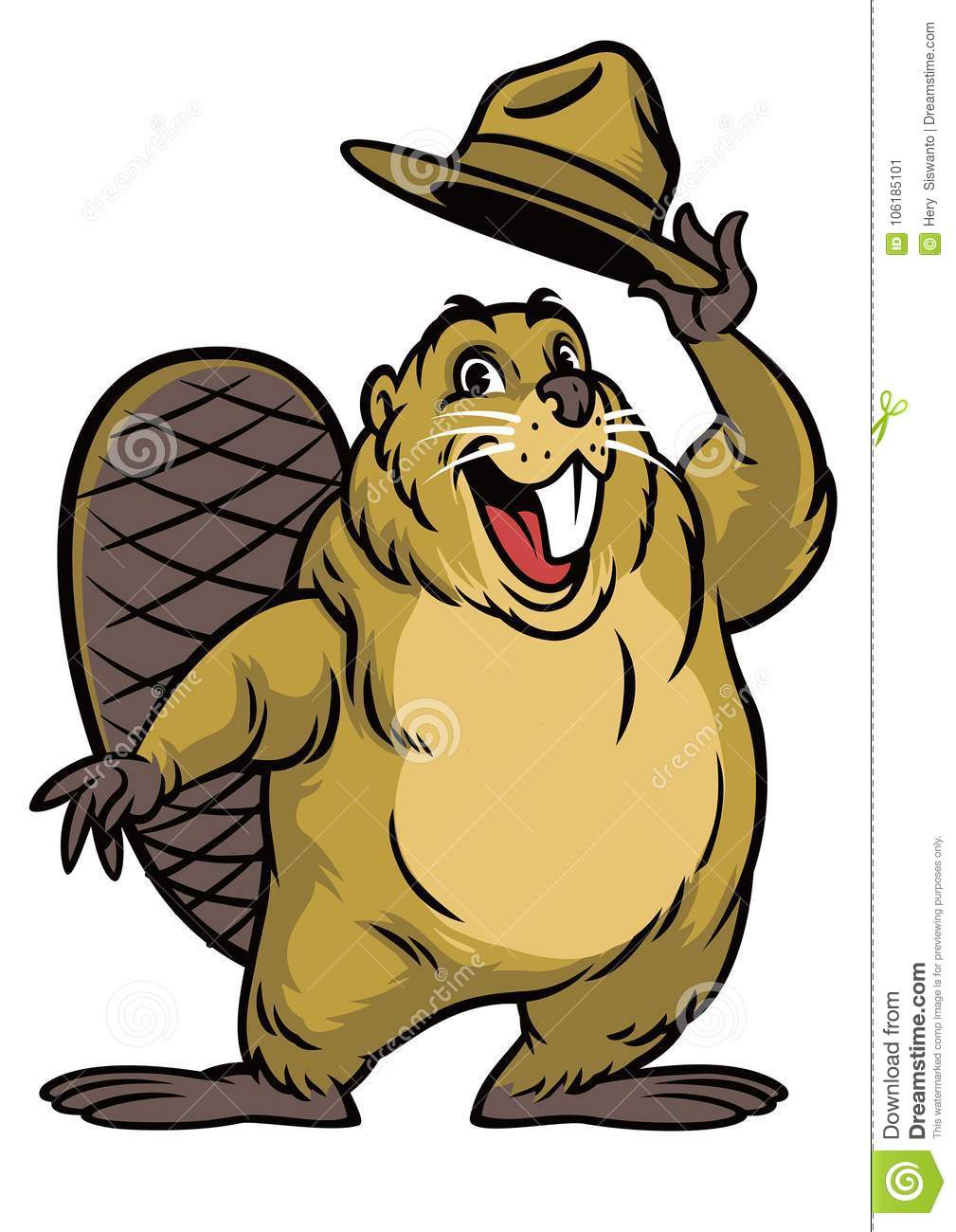 Cartoon Of Beaver Character Wearing A Hat Stock Vector ...