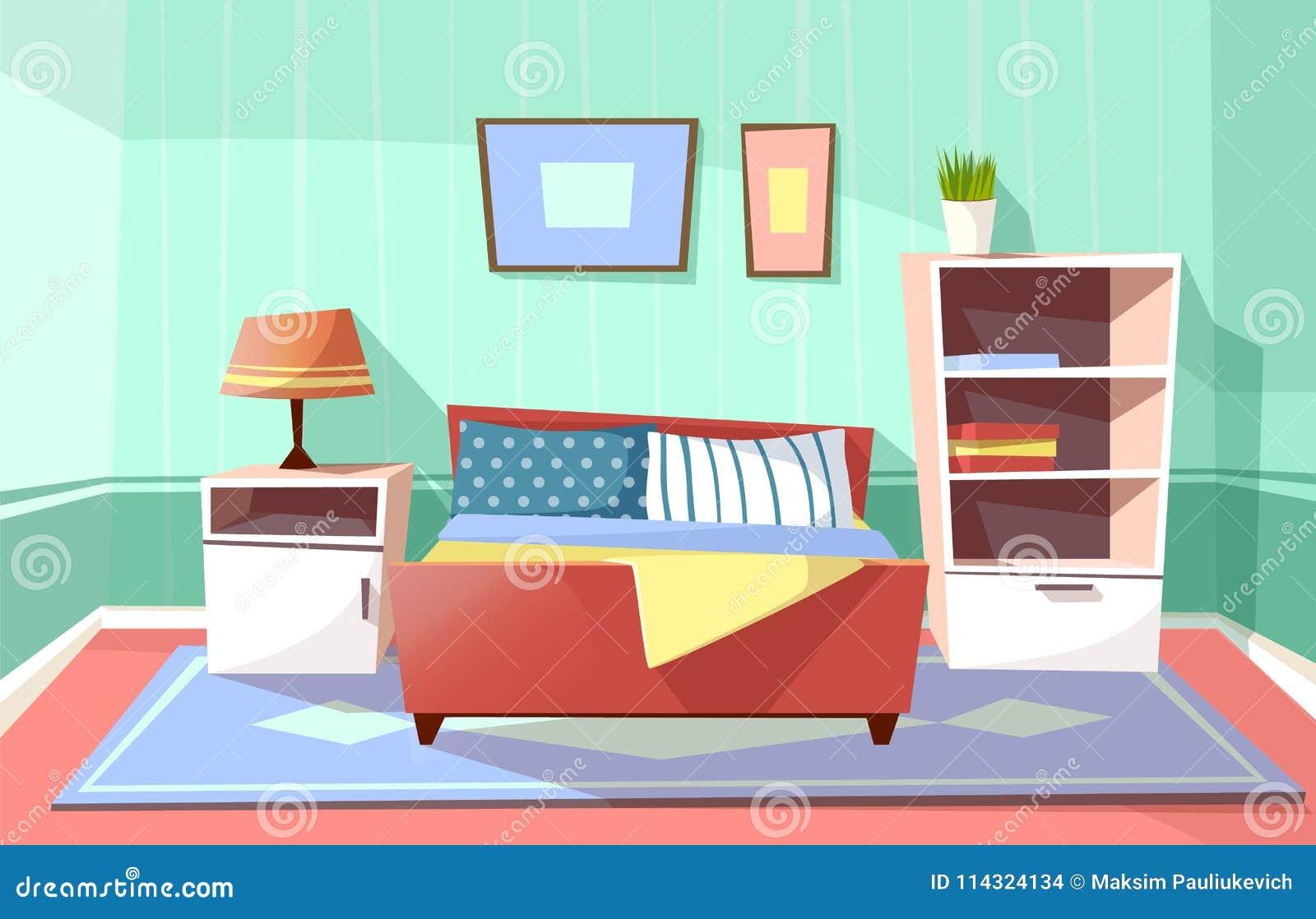 Download Vector Cartoon Bedroom Interior Background Stock