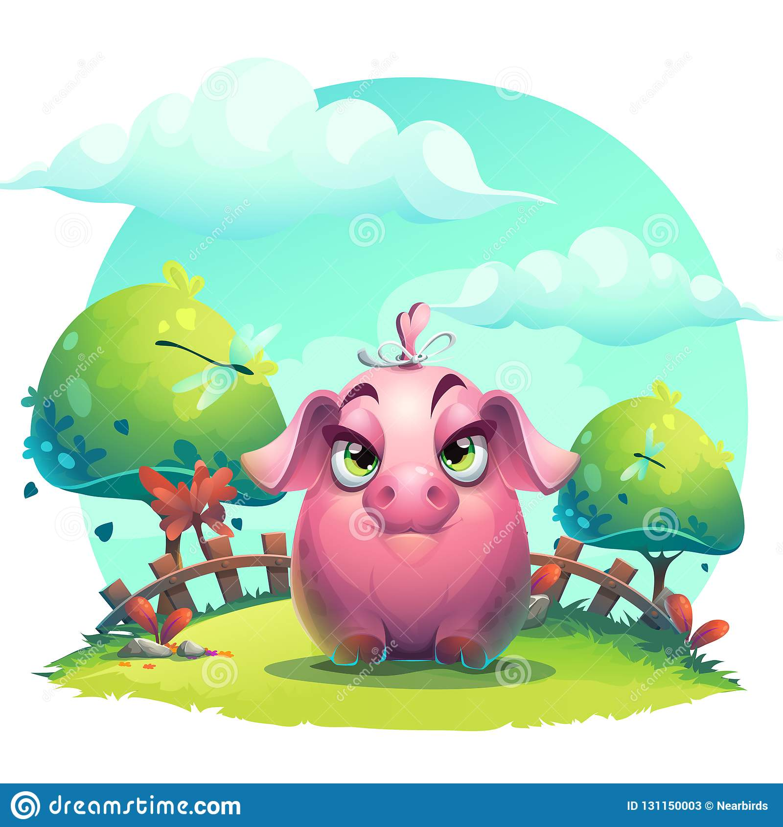 Vector cartoon big piggy girl