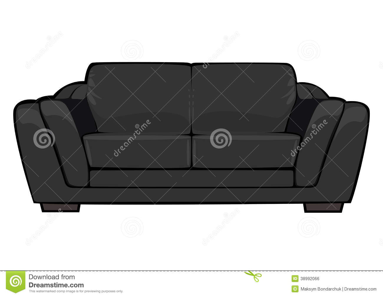 vector cartoon black couch isolated on white stock vector image 38992066. Black Bedroom Furniture Sets. Home Design Ideas