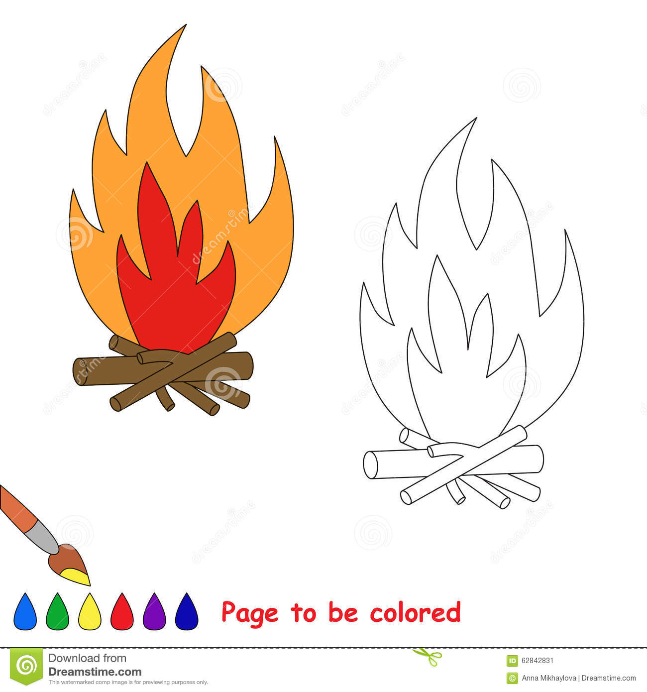 Vector Cartoon Bonfire To Be Colored Stock Image