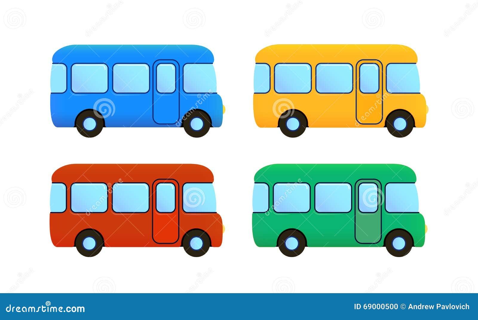 Vector Cartoon Bus Icon Set. Color Car Stock Vector