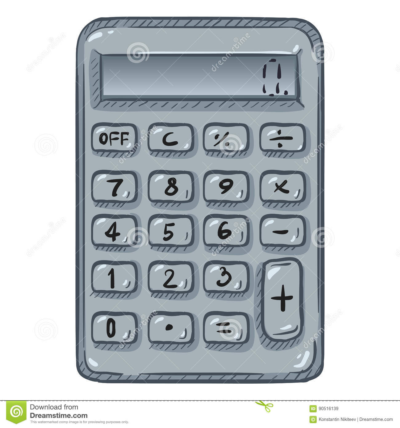 Vector Cartoon Calculator On White Background Stock Illustration ...