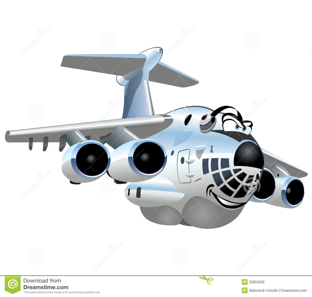 Vector Cartoon Cargo Airplane Royalty Free Stock Images