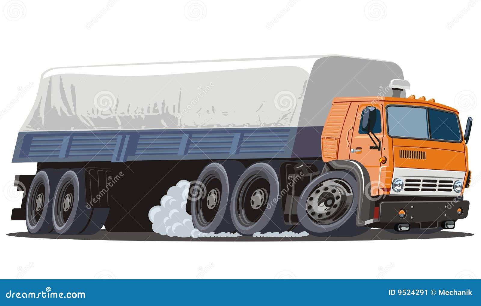 Vector Cartoon Cargo Semi Truck Stock Vector - Image: 9524291