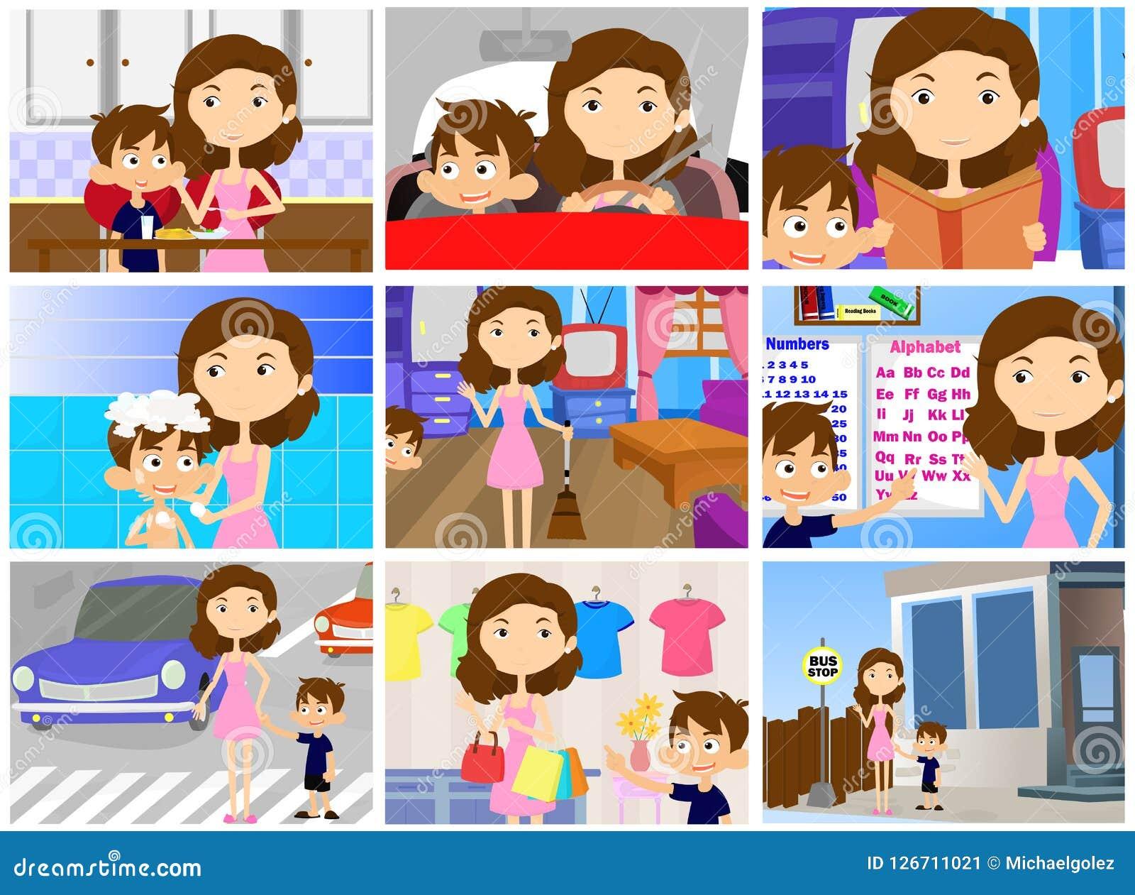 Duties Of A Mother Cartoon Character Illustration Stock