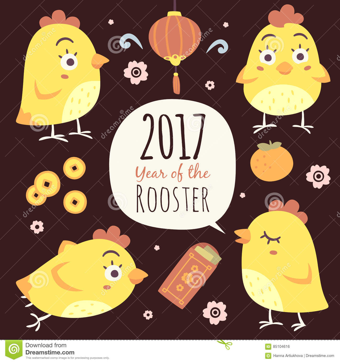 Vector cartoon chinese new year of rooster set