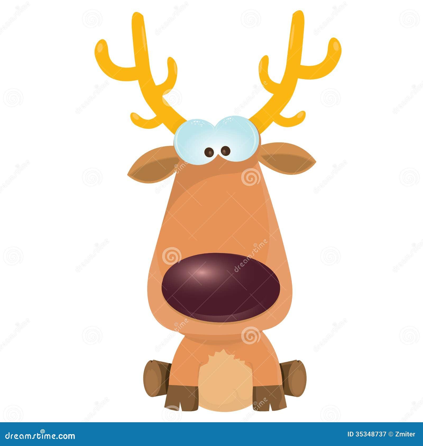 Vector Cartoon Christmas Reindeer Character Stock Vector