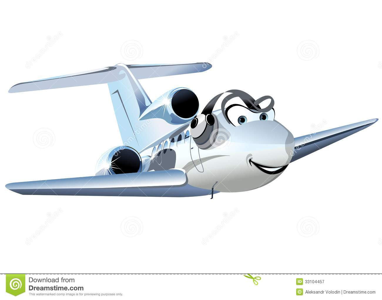 Vector Cartoon Civil Utility Airplane Royalty Free Stock