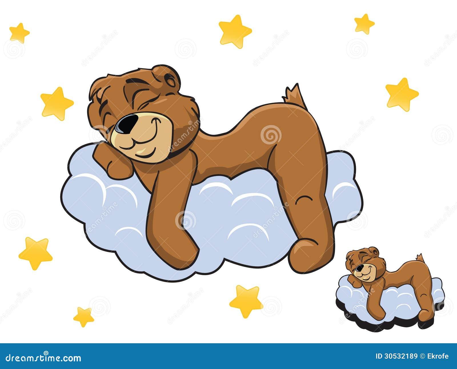 Vector Cartoon Color Cute Teddy Bear Sleeping On A Cloud Royalty Free