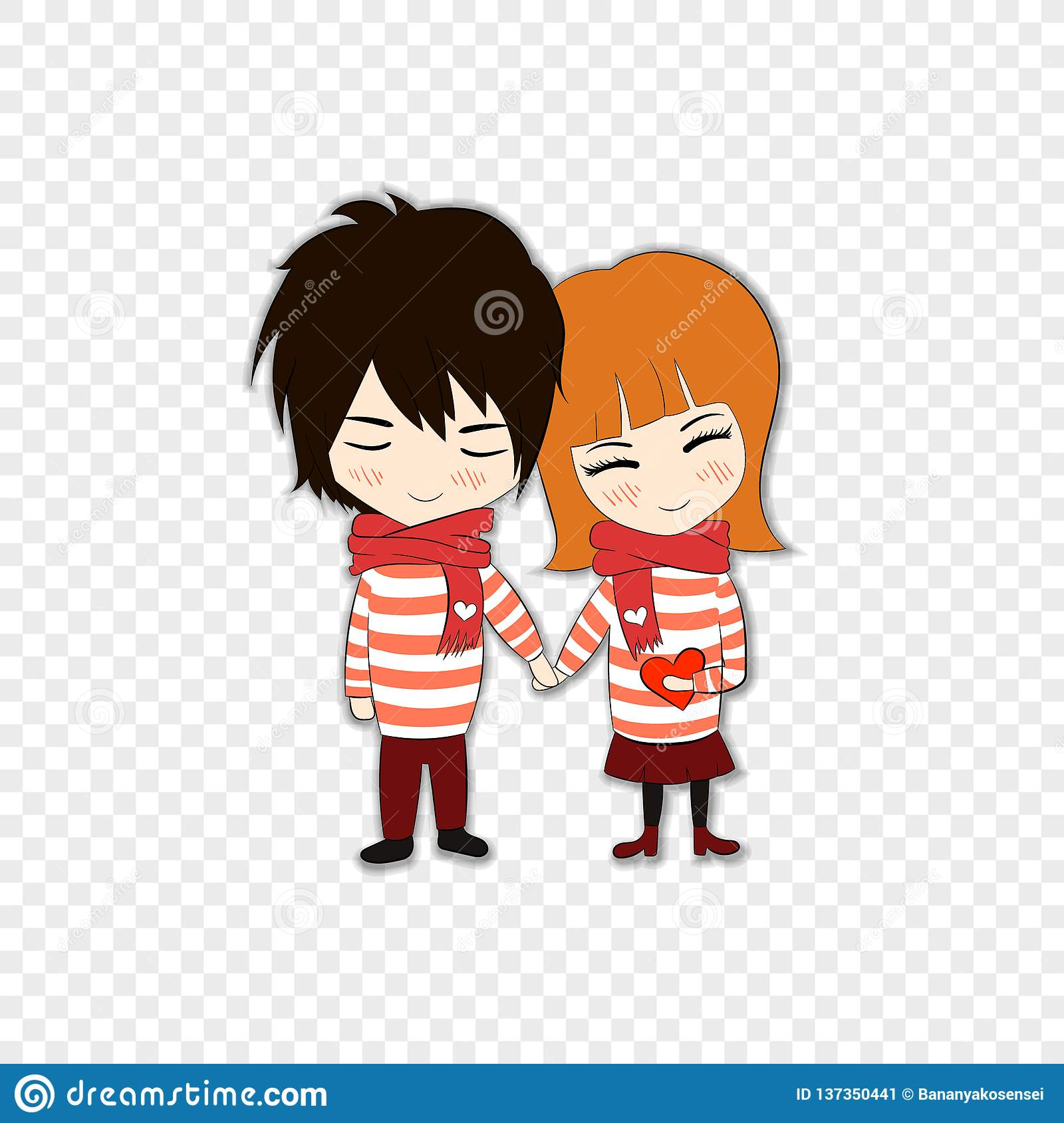 Vector Cartoon Couple In Love Paper Art Style Cute Icon With Shadow Isolated Stock Vector Illustration Of Cheerful Light 137350441
