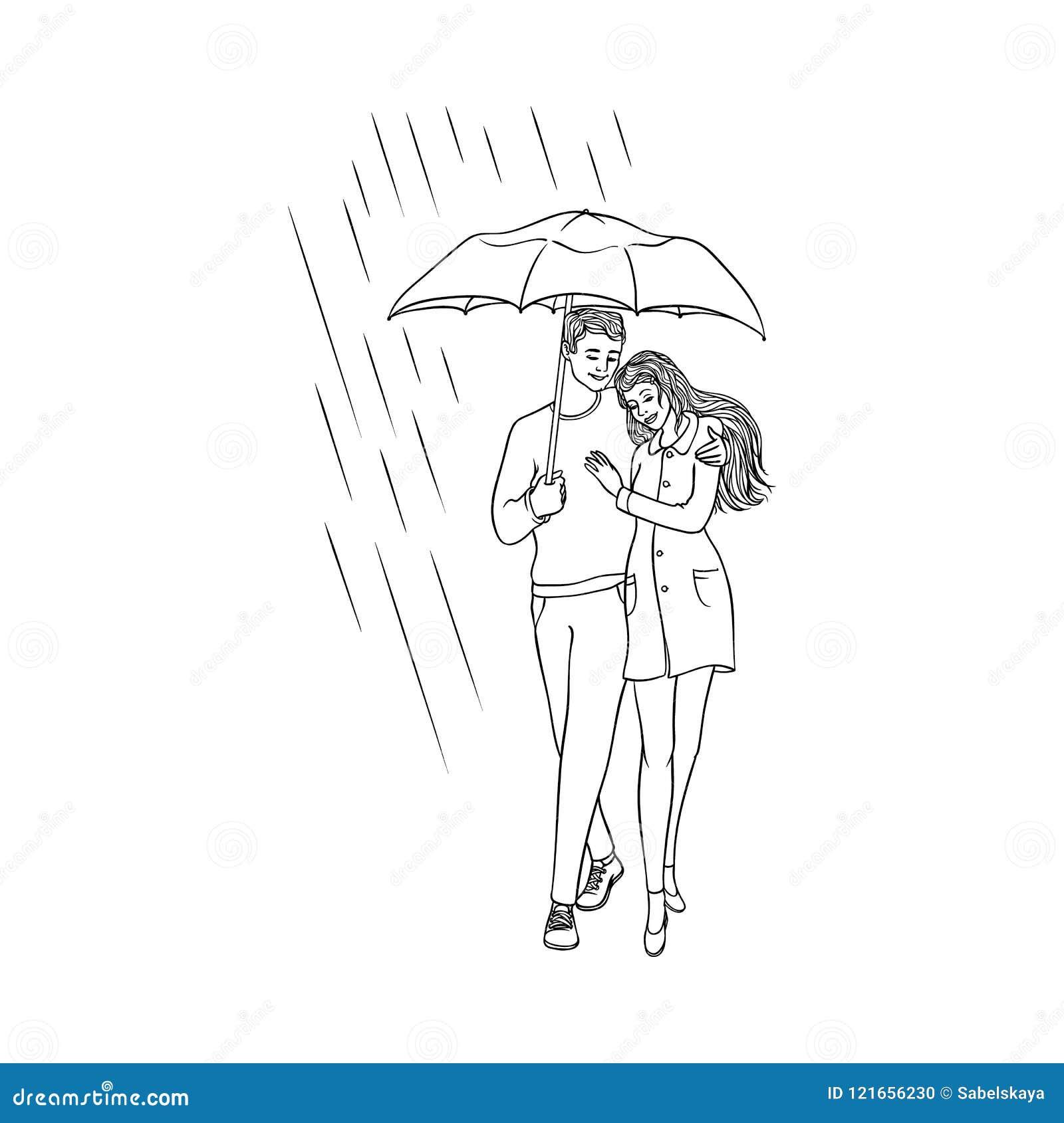 Vector Cartoon Couple Walking Under Rain Umbrella Stock Vector