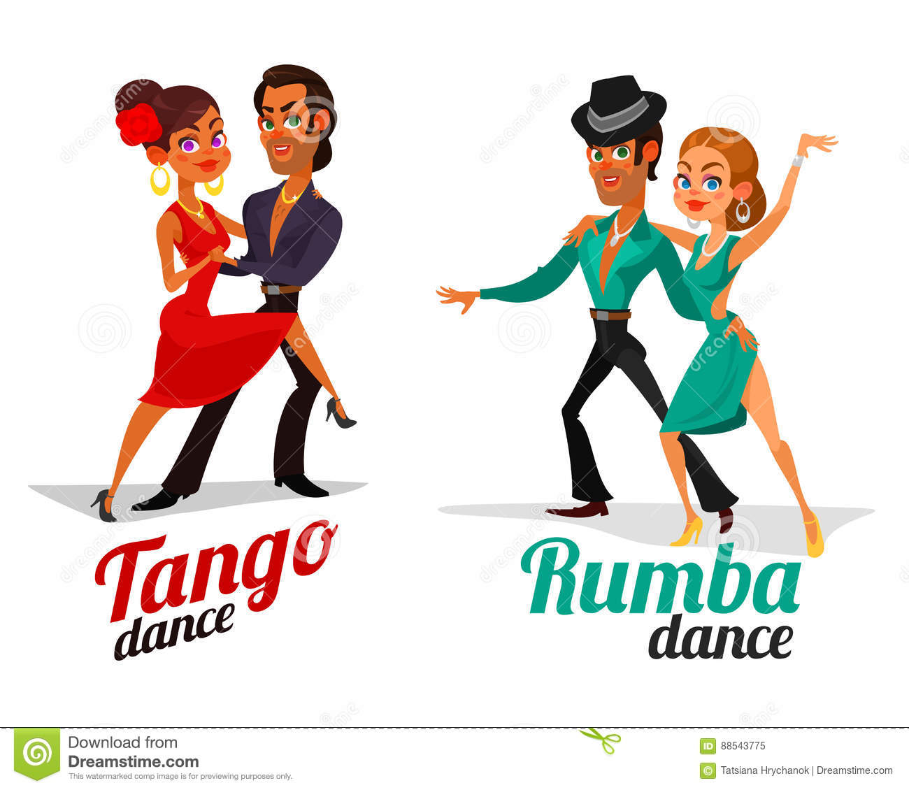 Download Taki Taki Rumba Audio: Vector Cartoon Of A Couples Dancing Tango And Rumba Stock
