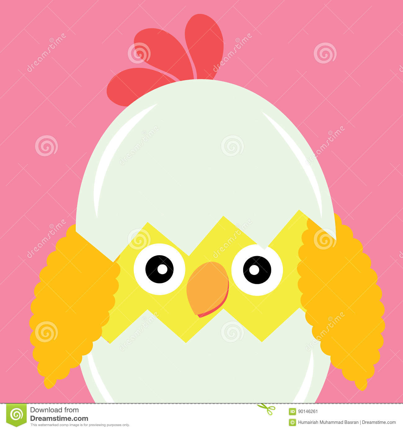 Vector Cartoon Of Cute Chick In Egg On Pink Background Stock