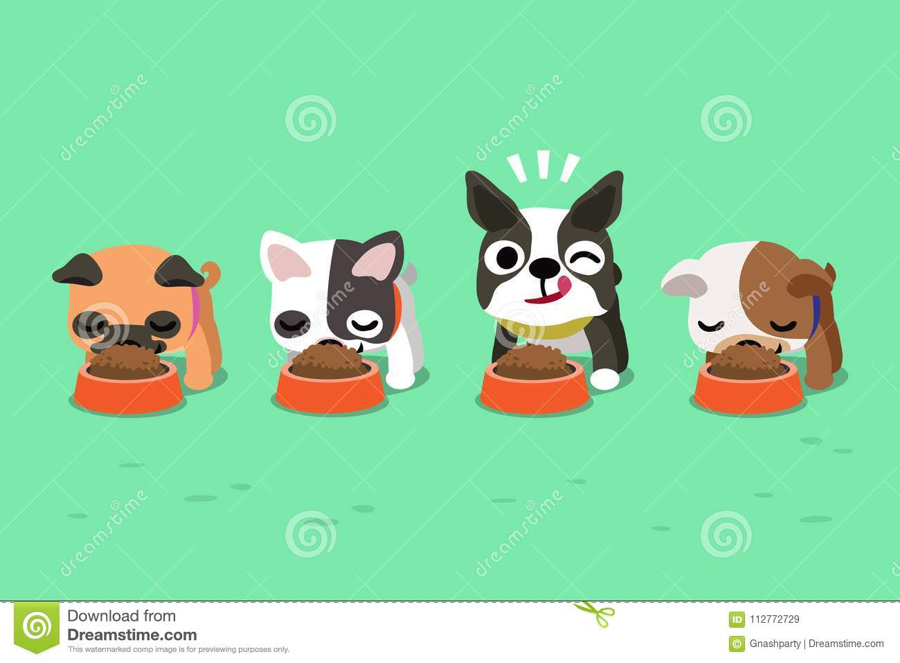Vector Cartoon Cute Dogs With Food Bowls Stock Vector Illustration