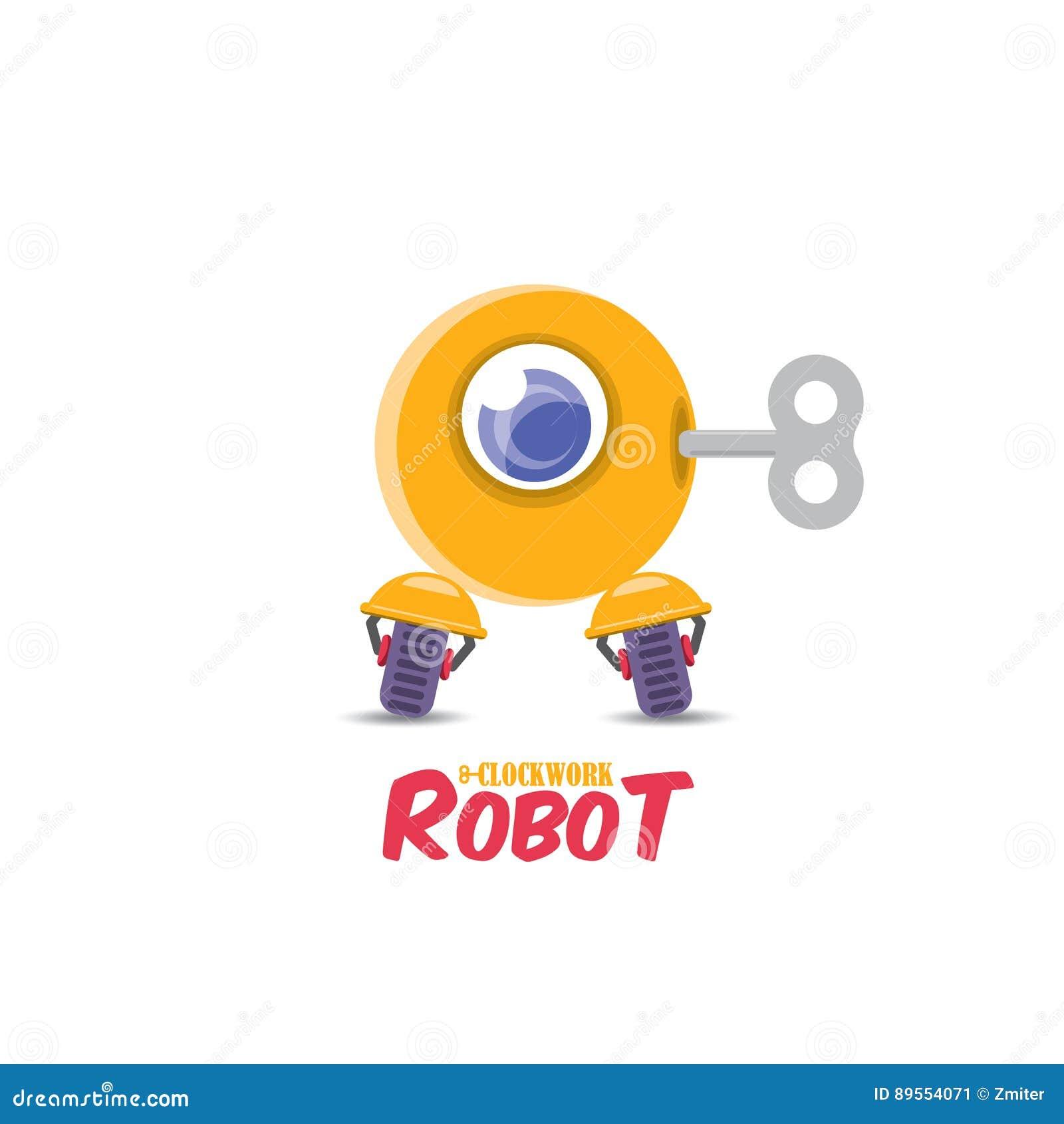 vector cartoon cute flat robot icon stock vector image