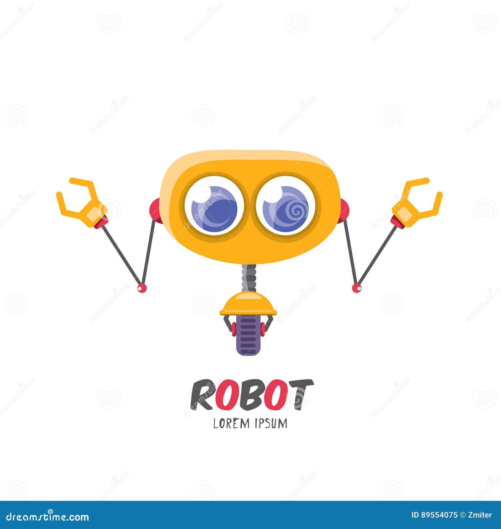 vector cartoon cute flat robot icon stock vector illustration of