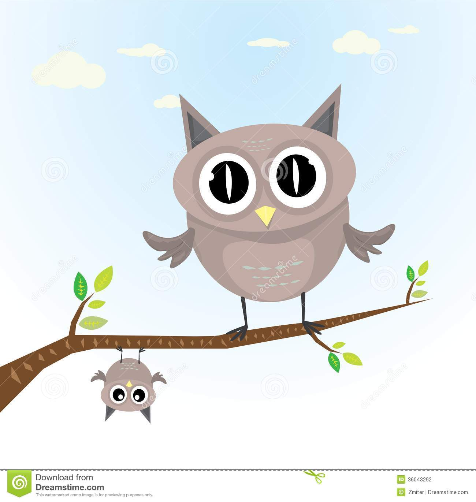 Cute cartoon owls on a branch - photo#13