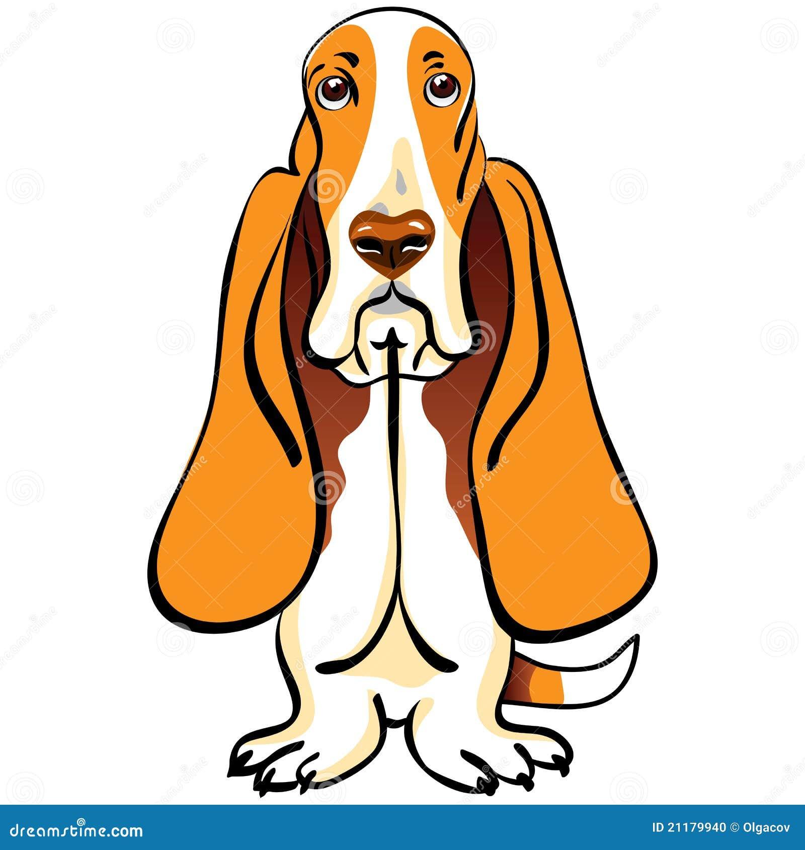 vector Cartoon Dog Basset Hound breed