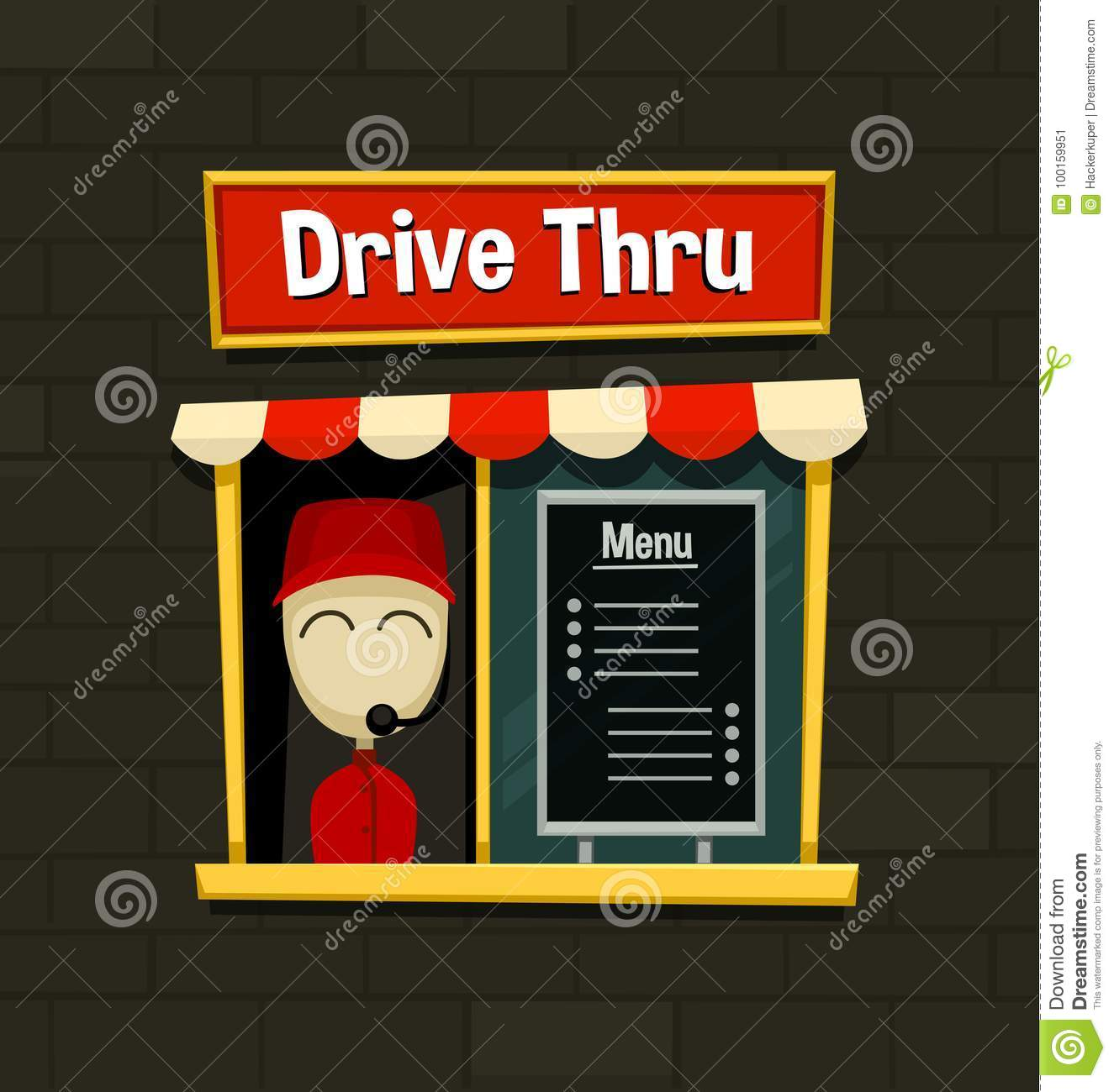 Download Vector Cartoon Drive Thru Menu Board Fast Food Business Snack Dish Quick Simple Idea With