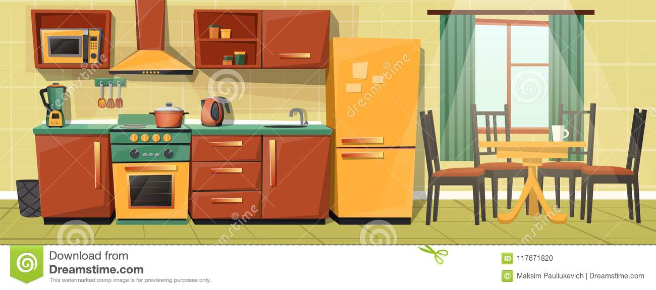 Vector Cartoon Family Kitchen With Appliances Furniture Stock