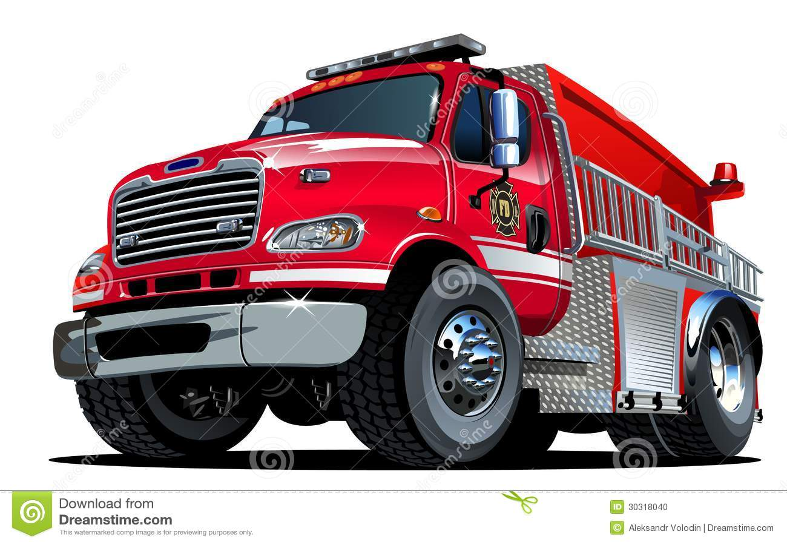 Vector Cartoon Fire Truck Stock Photo - Image: 30318040
