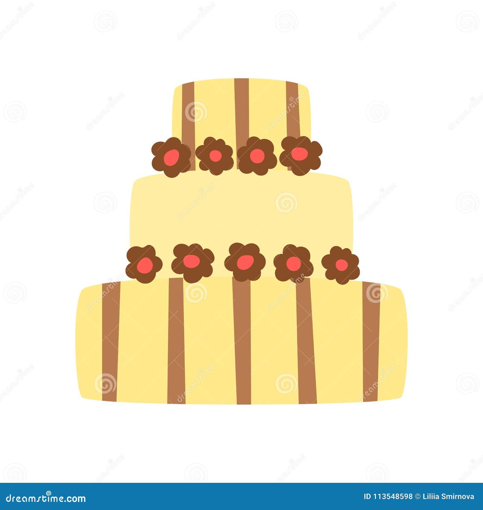 Vector Cartoon Flat Celebration Cake Stock Vector - Illustration of ...