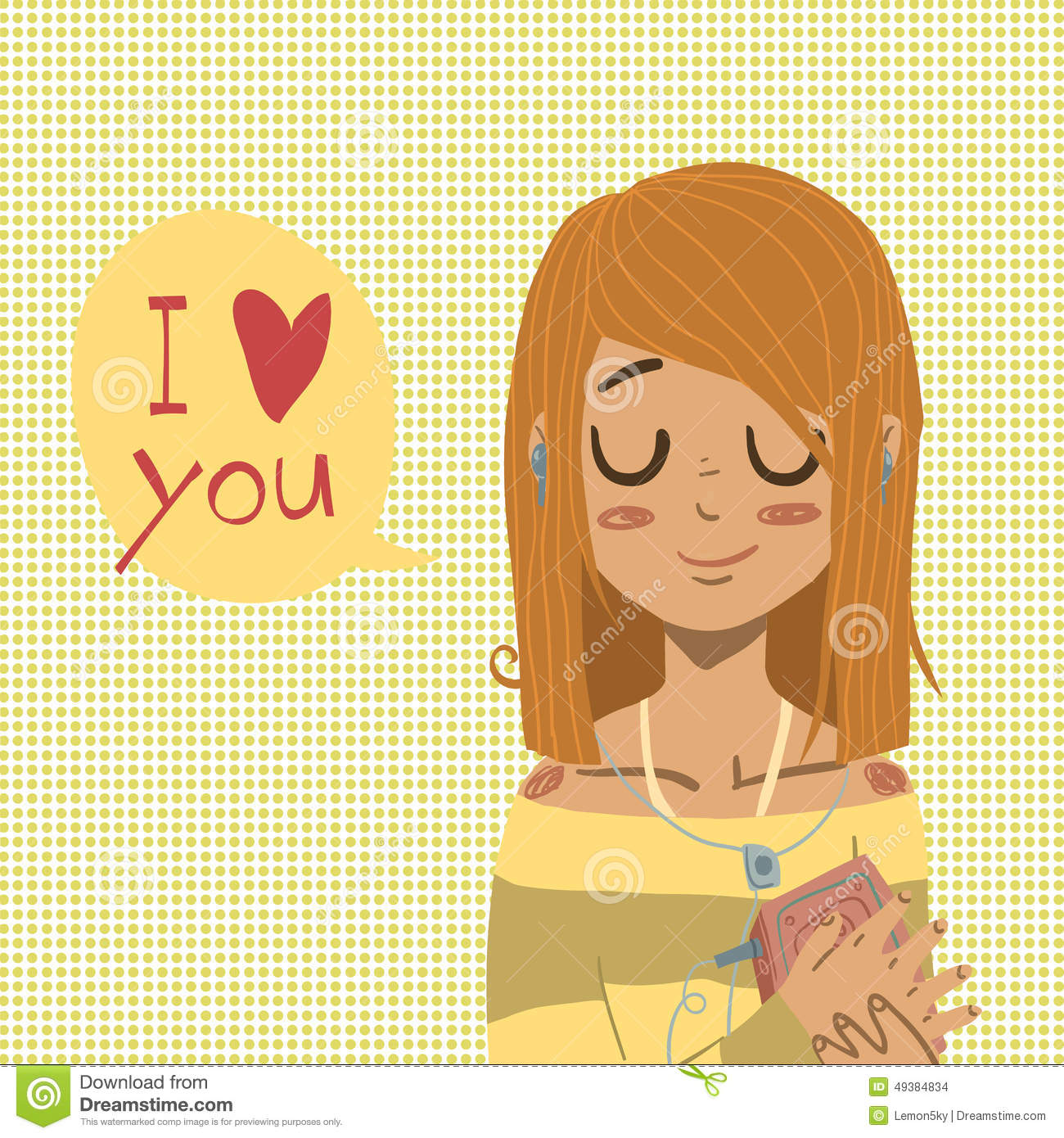 Vector cartoon Flat I Love You Greeting card. Stock Vector - Image: 49384834