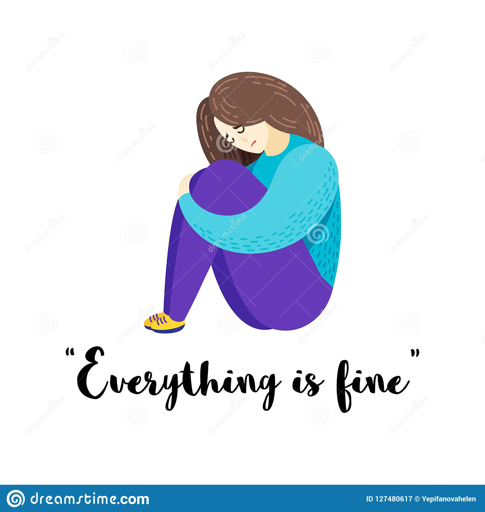 Vector cartoon flat illustration of depression sad girl