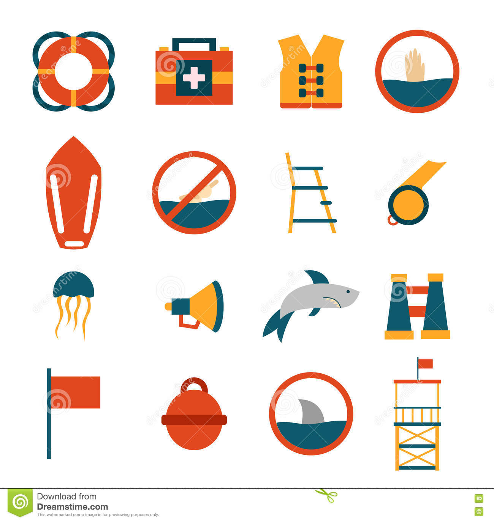 b630157e052 Vector Cartoon Flat Lifeguard Icons Stock Illustration ...