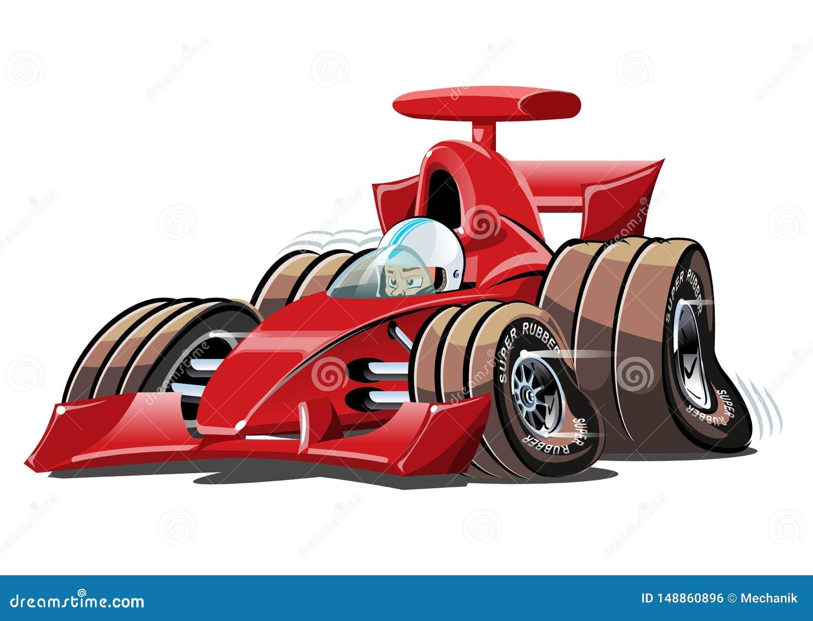 Vector Cartoon Formula 1 Race Car Isolated On White Stock ...